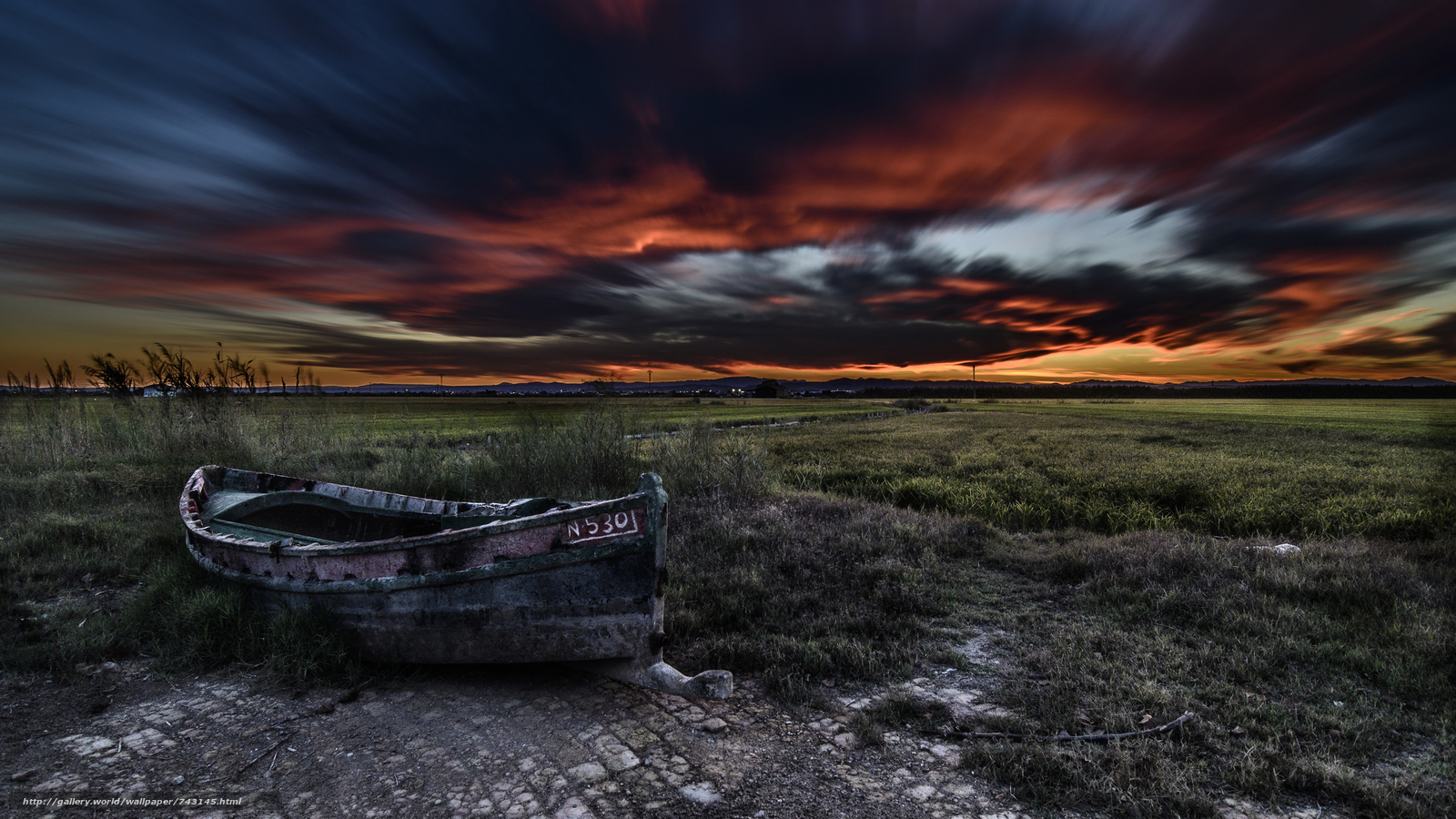 a boat, boats, landscape, nature, sunset, Coast, clouds, sky, gloomily, grass, storm, clouds, night