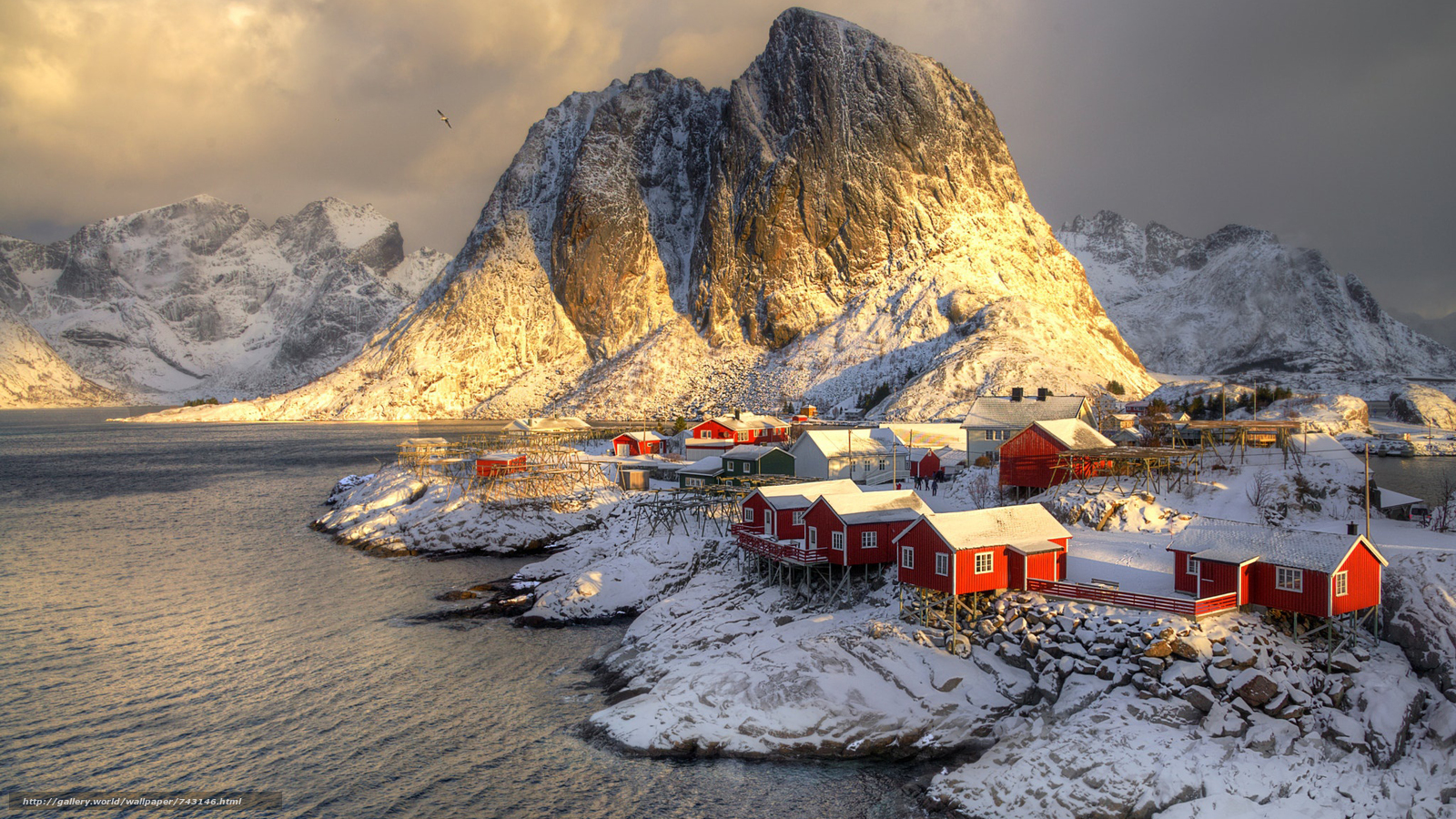 Lofoten, Norway, Lofoten, island, winter, snow, the mountains, rock, houses, water, sky, landscape, nature, view, lighting, Mainly cloudy, Coast, clouds