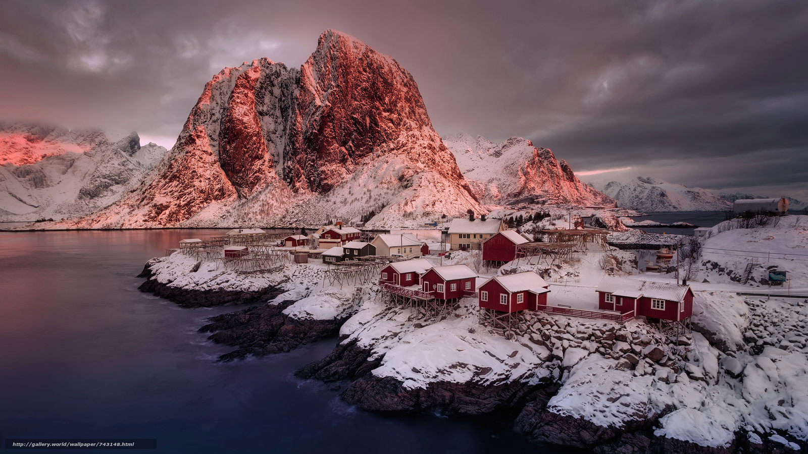 Lofoten, Norway, Lofoten, island, winter, snow, the mountains, rock, houses, water, sky, landscape, nature, view, Mainly cloudy, clouds, Coast, night