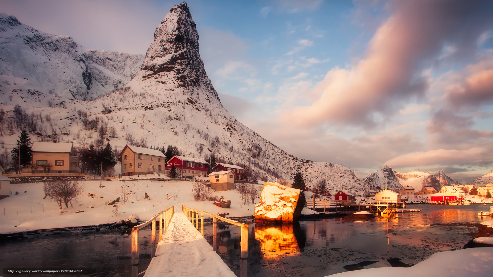 Lofoten, Norway, Lofoten, island, winter, snow, the mountains, rock, houses, water, sky, landscape, nature, view, vertex, clouds, bridge, Coast