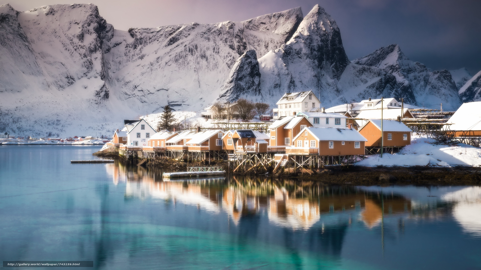 Lofoten, Norway, Lofoten, island, winter, snow, the mountains, rock, houses, water, sky, landscape, nature, view, reflection, vertices
