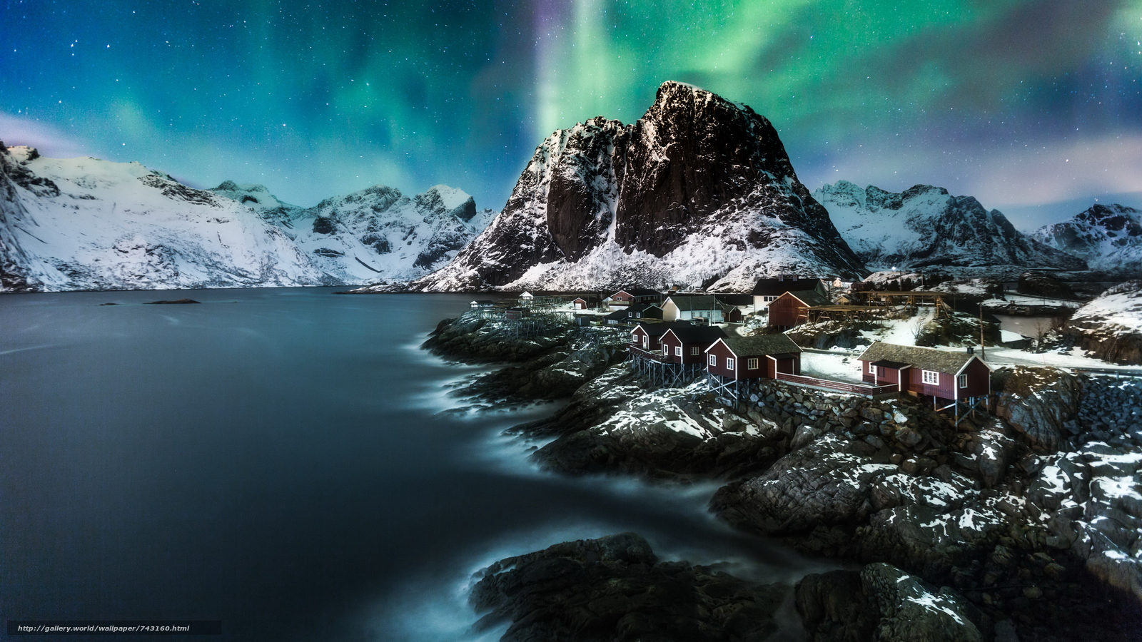 Lofoten, Norway, Lofoten, island, winter, snow, the mountains, rock, houses, water, sky, landscape, nature, view, Northern Lights, Polar Lights, night, stars, Coast