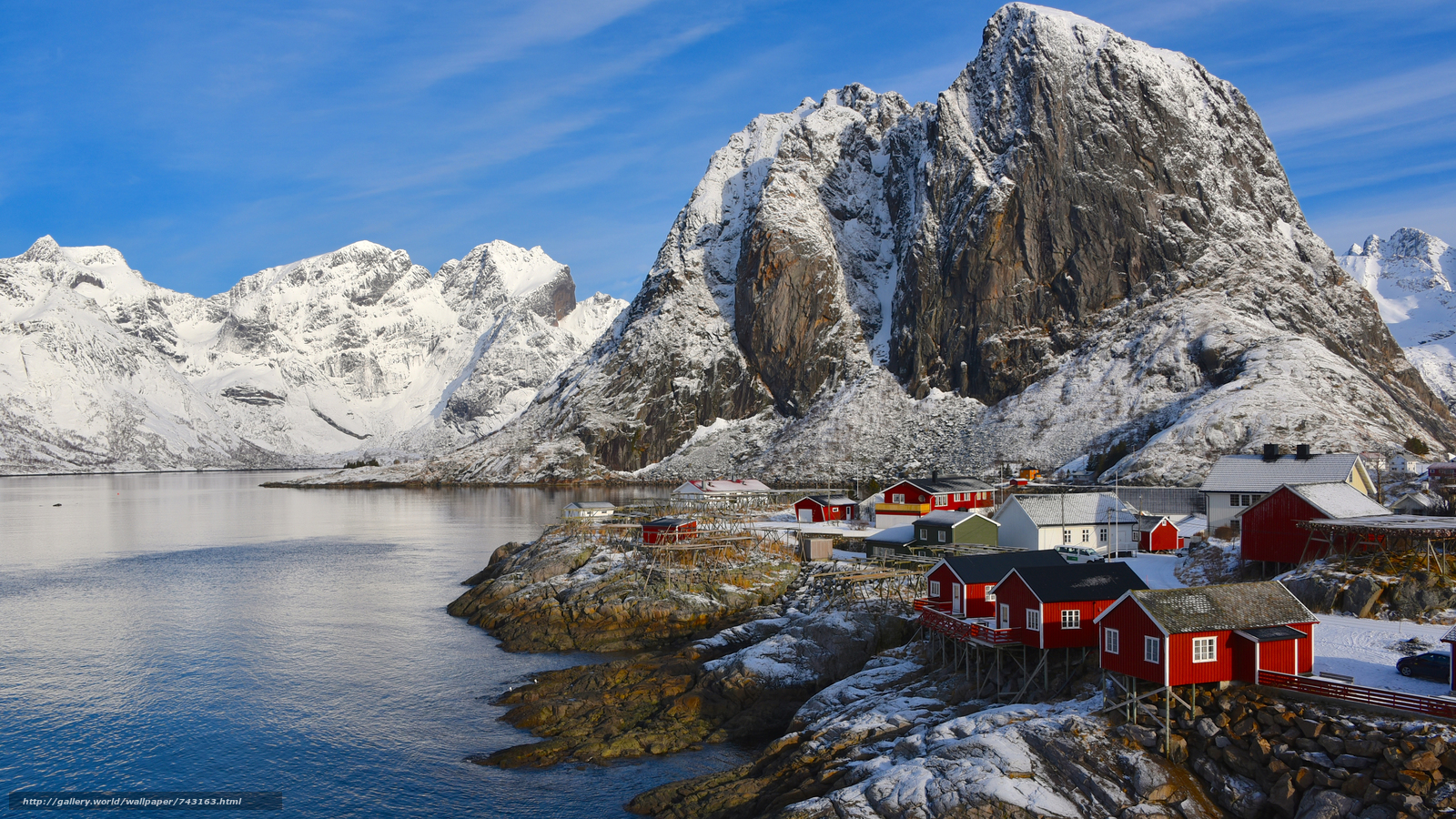 Lofoten, Norway, Lofoten, island, winter, snow, the mountains, rock, houses, water, sky, landscape, nature, view, Coast