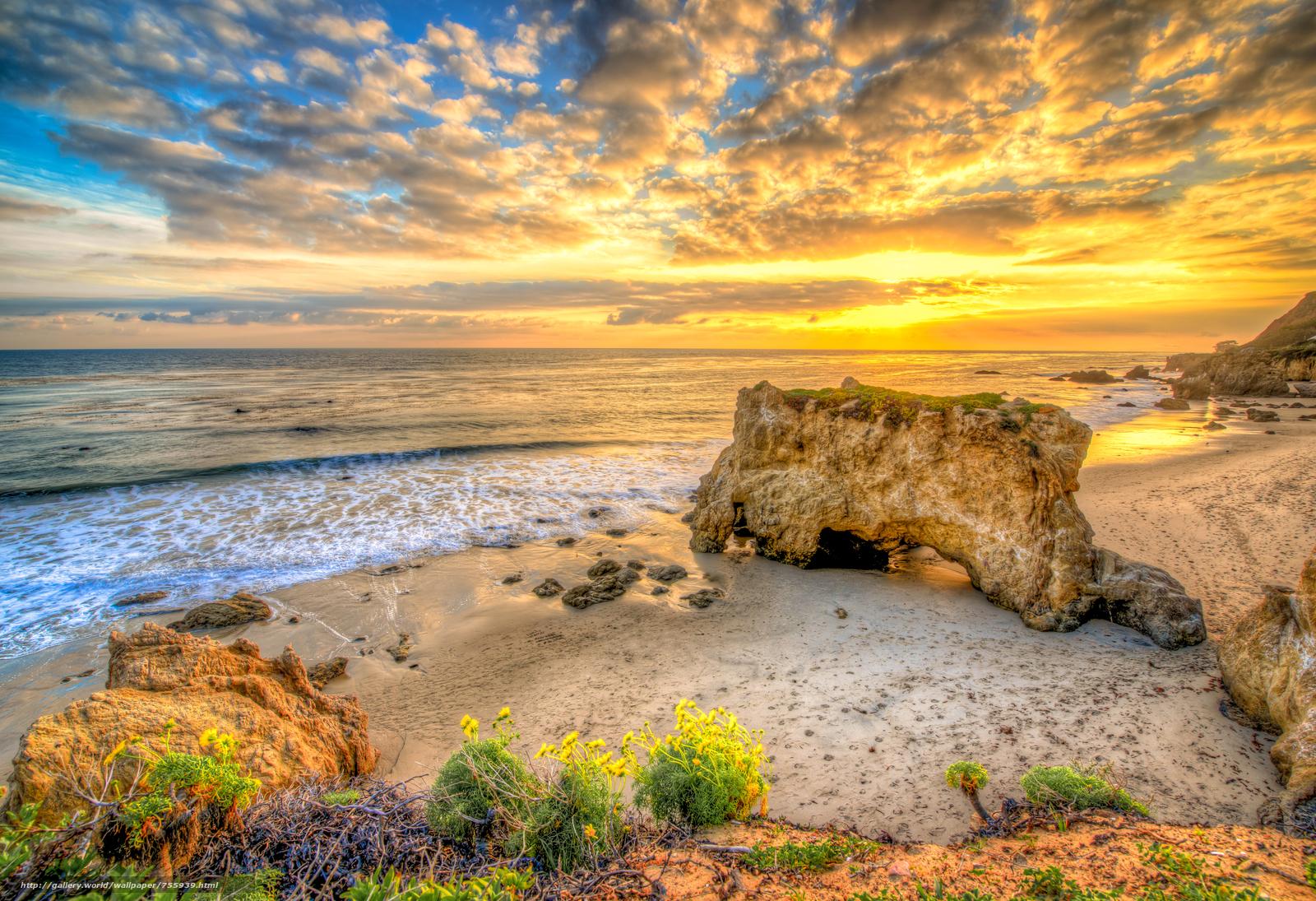 sunset, sea, Coast, beach, Malibu, USA, landscape