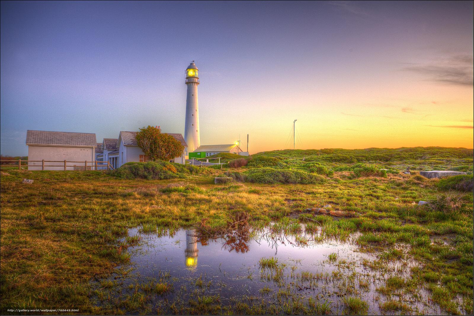 Slangkop Lighthouse, Kommetjie, Lighthouse Slangop, Cap-Peninsula, South Africa, sunset, landscape