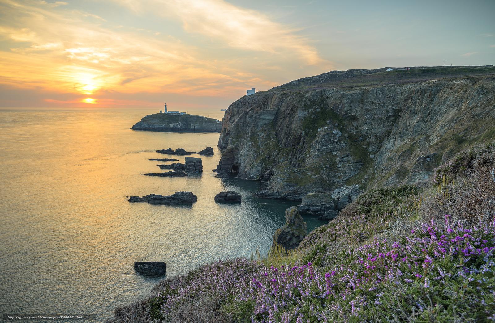 Anglsi, Anglesey, United Kingdom, sunset, sea, lighthouse, rock, landscape
