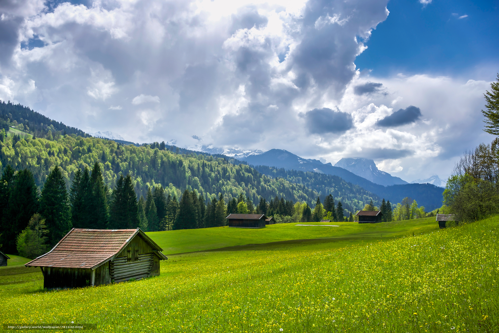 Mittenwald, Garmisch, Germany, Alps, field, hills, the mountains, lodge, trees, landscape