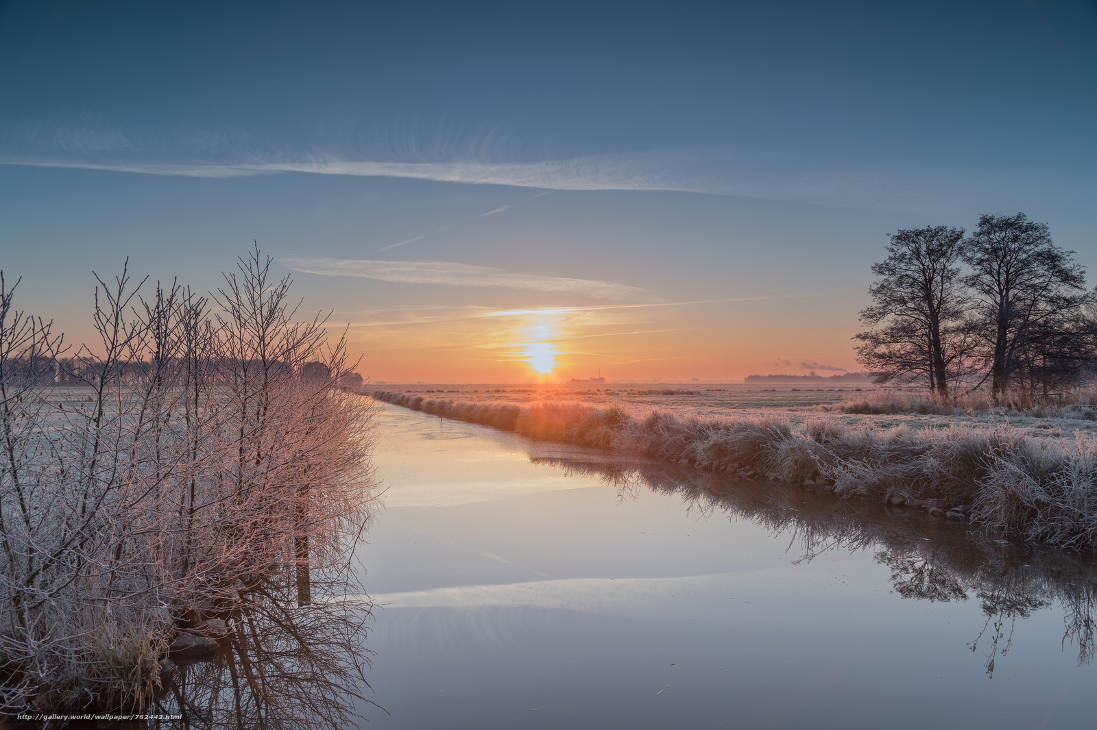 sunset, River, frost, trees, landscape