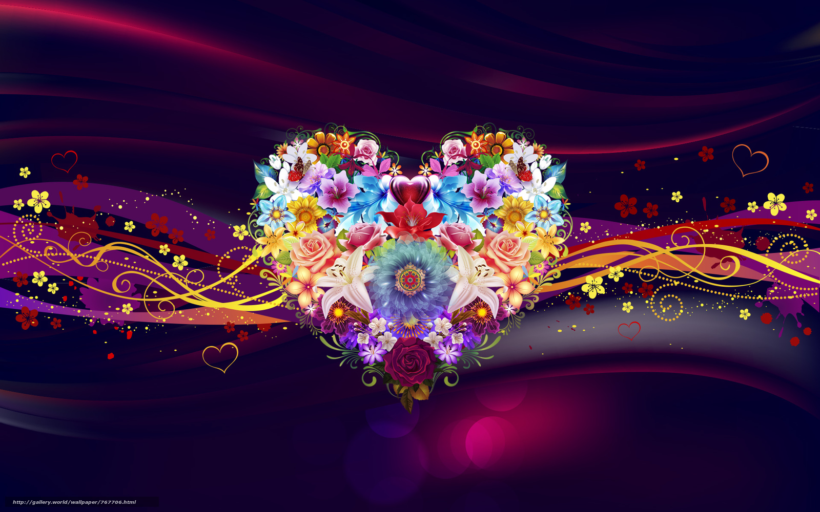 heart, a heart, flowers, abstraction, wallpapers