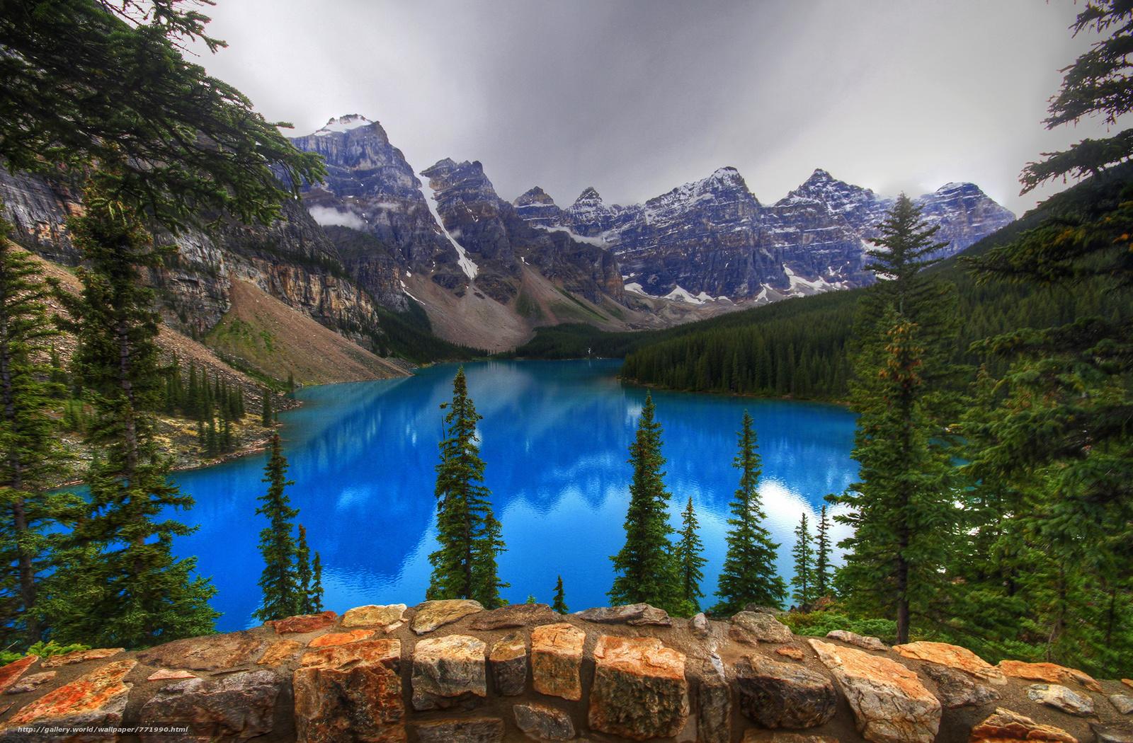 Lake Moraine, Canada, Lake Moraine, alberta, Canada, lake, the mountains, trees, rock, landscape