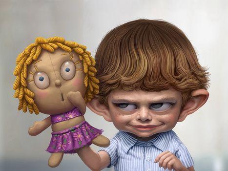 мальчик, кукла, стыд