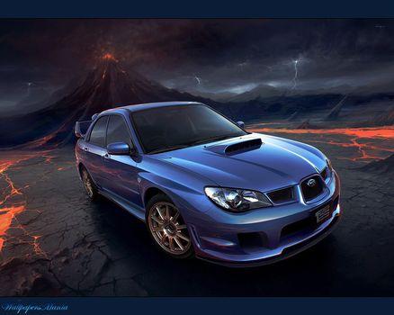 авто, вулкан, молнии