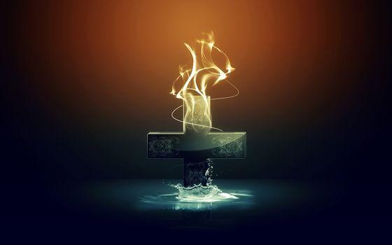 cross, water, fire