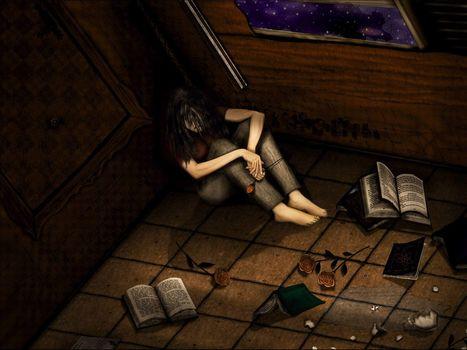 Figure, Books, melancholy
