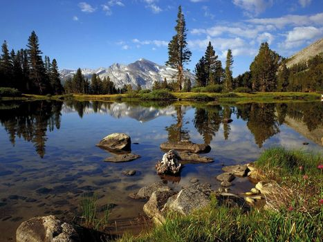 Lake, clear water, Mountains, fresh air, stones, Trees, clouds