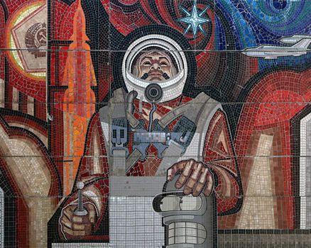 Bender, astronaut, mosaic, USSR