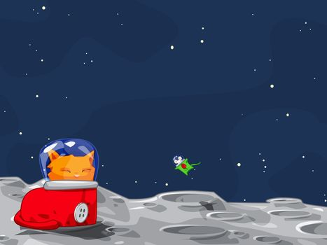 cat, mouse, space, vector, humor