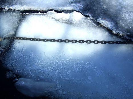 cadeia, gelo, inverno
