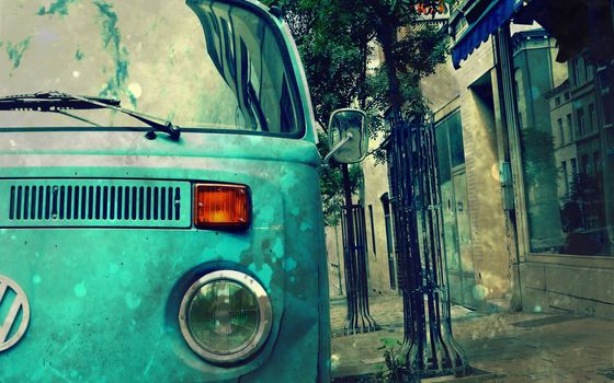 caravana, hippy, rua