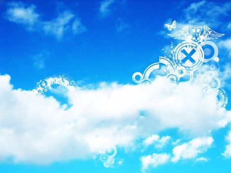 clouds, sky, Blue, white, strips, band, plane figures, patterns, butterfly