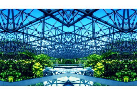 design, glasshouse, Steel, vegetation, bright