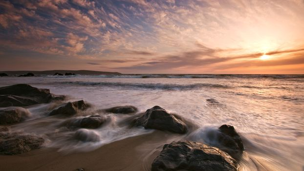 sea, stones, sky, sunset