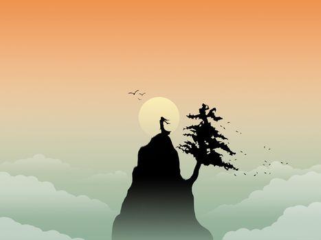 mountain, sun, vector, minimalism