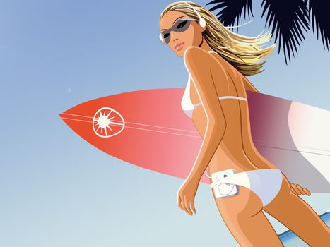 vetor, surfista, jogador, mai