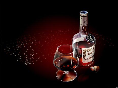 коньяк, вектор, бокал, бутылка