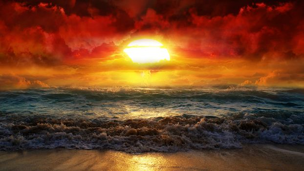 A nuclear explosion, sea froth, turbulent