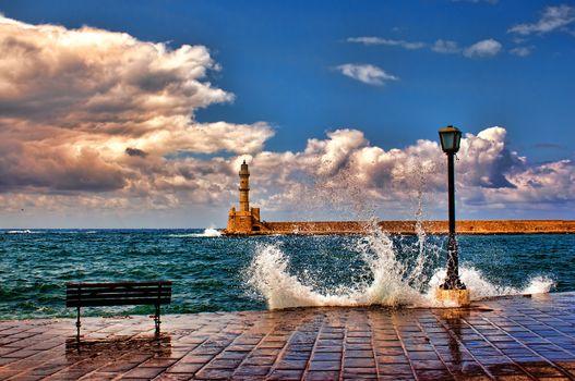 nature, sea, pier, surf, spray, shop, lighthouse, sky, clouds