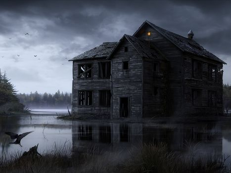 home, wood, ruins, gloom, water, swamp, crow, Birds, light