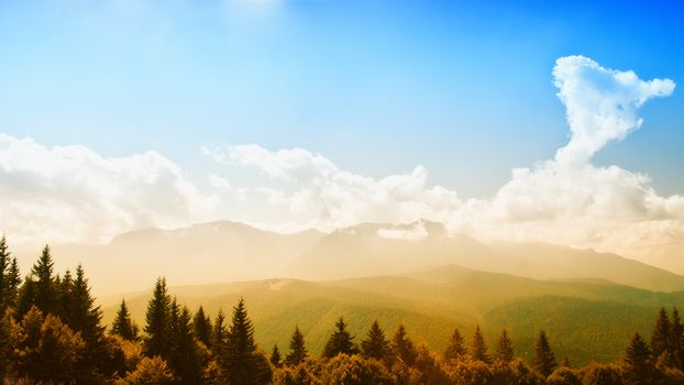 landscape, nature, summer, Mountains, forest, Trees, greens, sun, light, sky, clouds