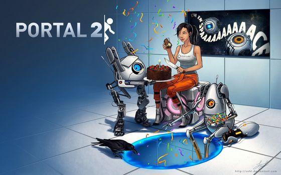 portal, cake, Cake, crow, holiday, glados, cube, block, Wheatley, game