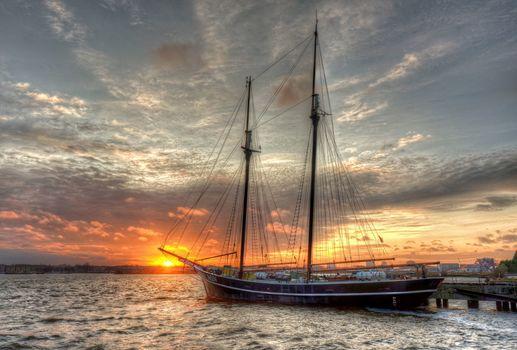 yacht, berth, sunset