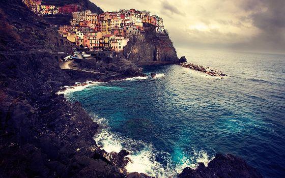manarola, italy, sea, coast, landscape, home, rocks, Italy