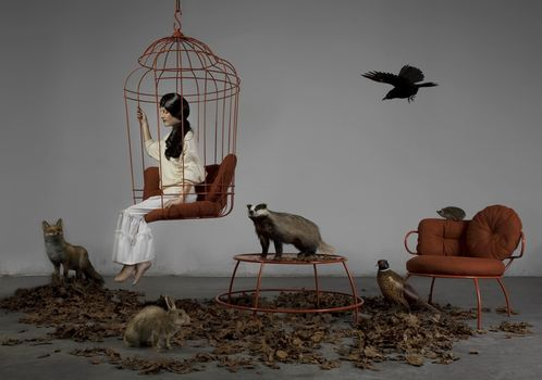 girl, brunette, cell, animals, animals, stuffed, badger, hare, fox, pheasant, Crew cut, crow, chair, stol.listya