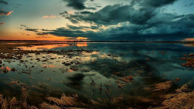 gloomy, sky, moorland