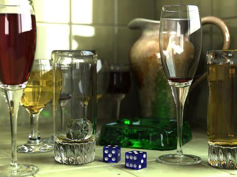 stil, defect, paharul de vin