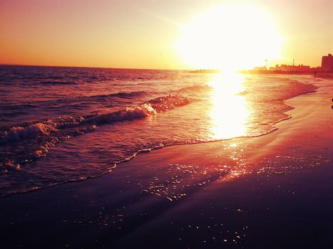 sea, ocean, beach, sand, sunset
