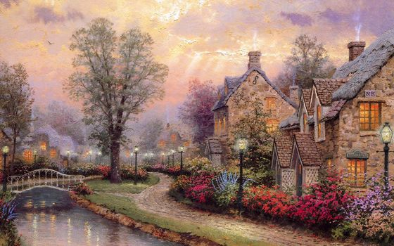 Thomas Kinkade, painting, Street, lights, light, lighting, Cottages, river, small river, bridge, picture, picture, picture, drawings