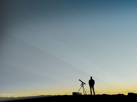 телескоп, человек, вектор, утро
