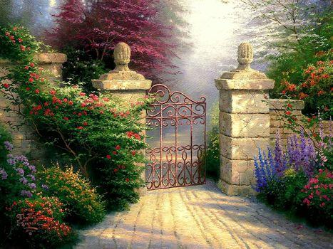 Thomas Kinkade, picture, painting, gate, Flowers