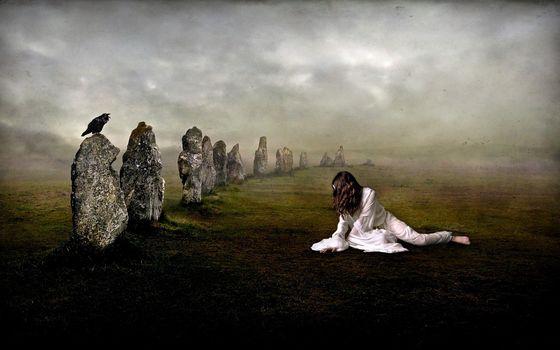 girl, land, stones, raven, White, clothing, fog, crow, Darkly