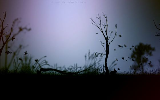 The gloomy atmosphere, scary, animals, rabbit, hare, bird, crow, grass, Trees, broken tree, the leaves are falling, game, limbo, wallpaper, dark, picture