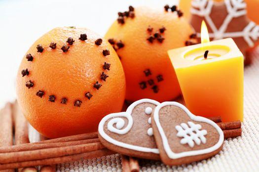 Holidays, New Year, cinnamon, Candles, orange, treat