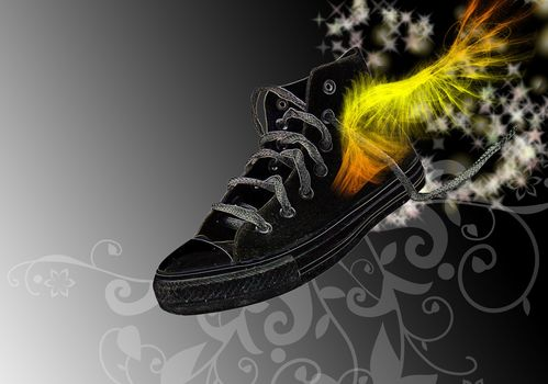 Fantaisie, Style, chaussures de tennis, dessin, Papier peint