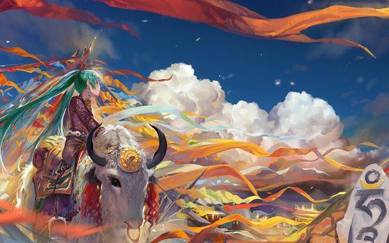 girl, bull, yak, festival, Tape, stone, characters