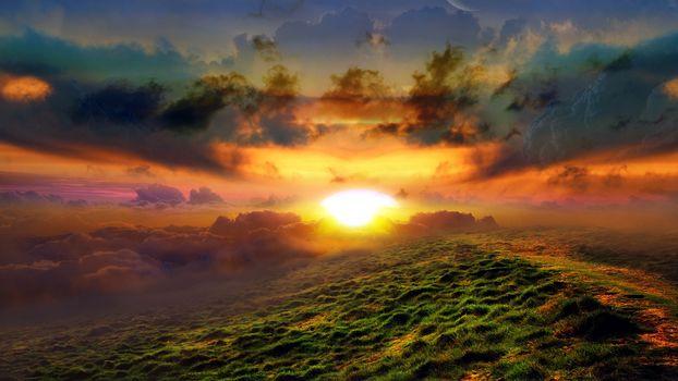 clouds, sun, rays, dawn, meadow