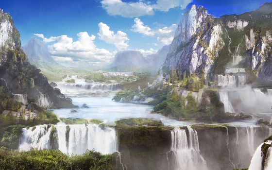 Art, Mountains, nature, waterfalls, picture